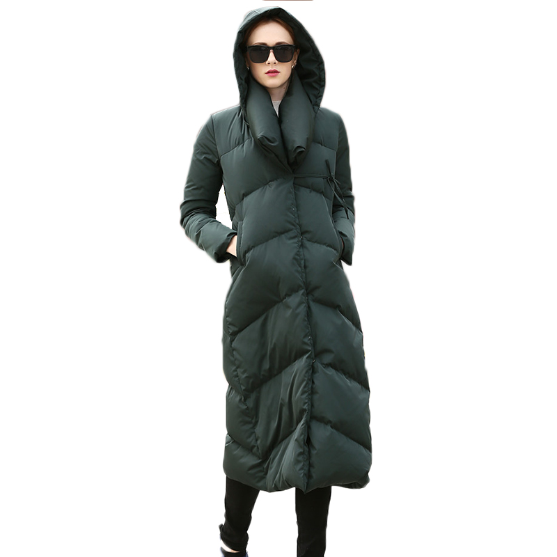 Épaississement Long hiver femmes doudoune hiver femmes duvet d'oie manteau veste hiver chaud de haute qualité femme vers le bas Parka manteau