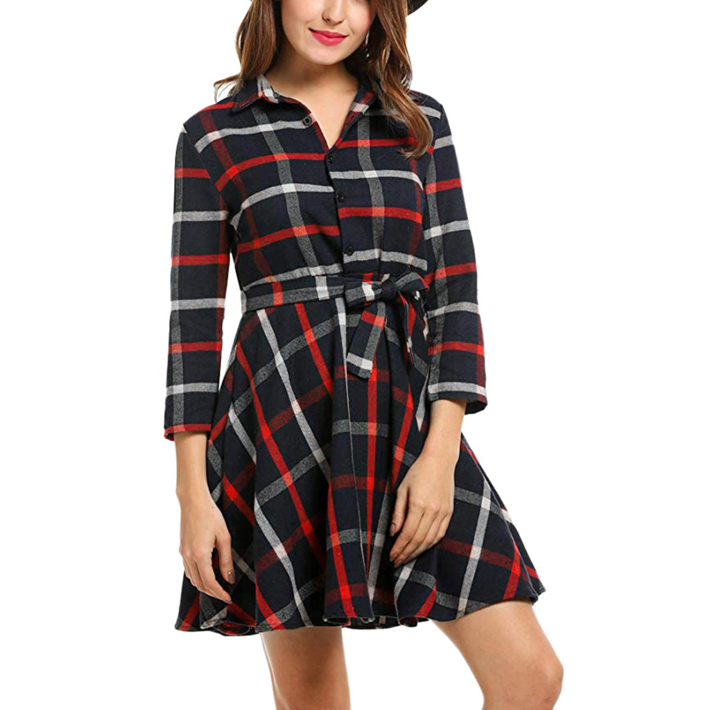 Dresses 2019 Fashion Casual Women Dress Vintage Lapel 3/4 Sleeve Plaid Belted Party Dress 2019 New Summer Spring A-line Swing Dress Elegant Vestidos Without Return