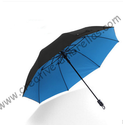 113cm 75T hex-angles parasol visible double layers double bridge carbon fiberglass two fold auto open hook mini golf umbrellas