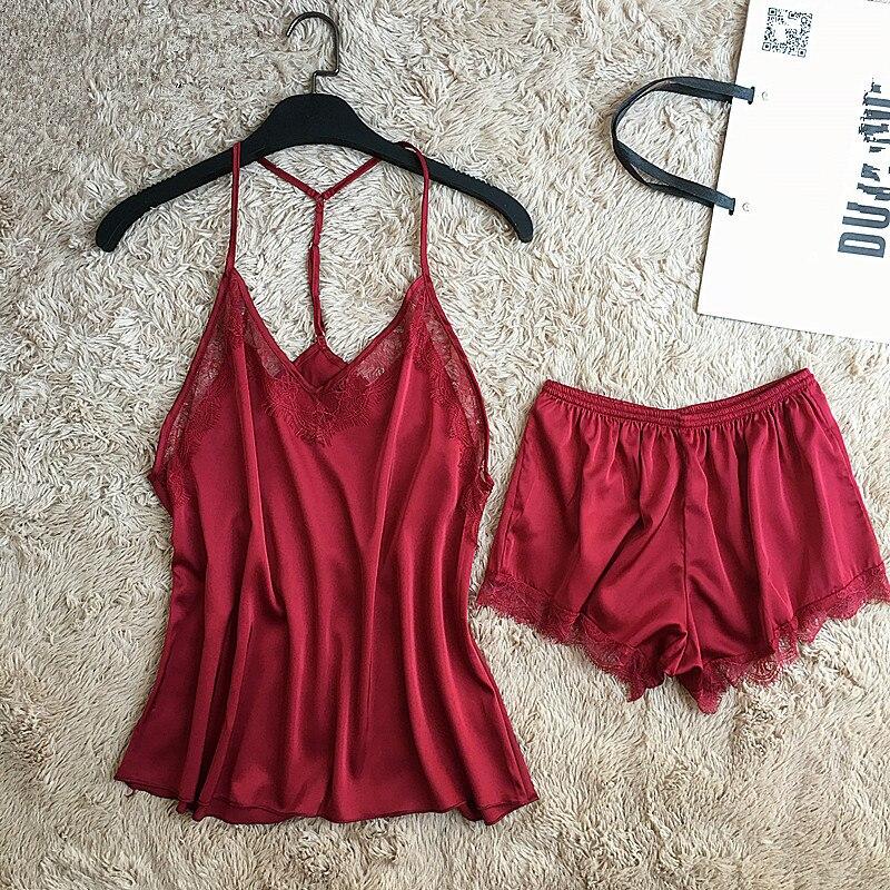 Summer Homewear Women 2 Piece Cami&Shorts Sexy Lingerie Suit Satin Sleepwear Solid Lace   Pajamas     Set   Trim Nightwear Size M-XXL
