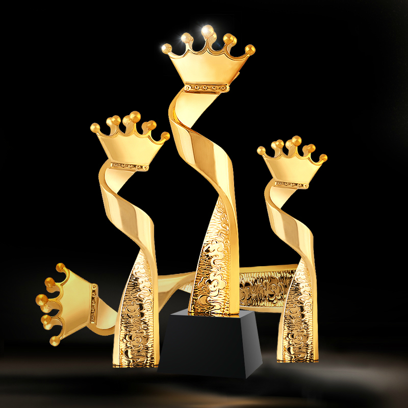 Hot Crown Head Style Crystal Trophy Customized Best Miss Beauty Contest  Champion Trophies Excellent Team Winner Craft Souvenir