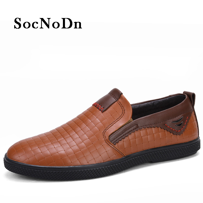 f94a74213085 SocNoDn Men s Leather Shoes Slip on 2018 Spring Summer Fashion Flat Loafer  Shoe Male Genuine Leather Casual Footwear Breathable