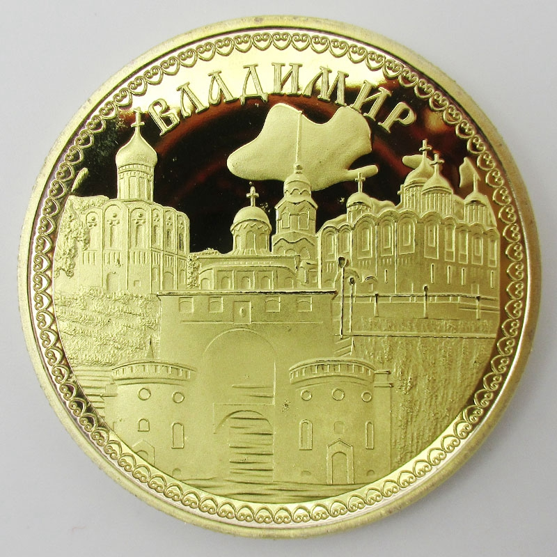 Beautiful Russian City Vladimir Gold Plated Copy Coins Souvenir Metal Craft Coins Travel Gift