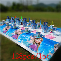 128Pcs/Lot Disney Cartoon Frozen Disposable Tableware Sets Kids Birthday Family Party Wedding Decoration Event Party Supplies