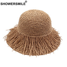 SHOWERSMILE Straw Bucket Hat Women Foldable Fringe Hat Female Coffee Crochet Vacation Sunshade Casual Ladies Summer Beach Caps(China)