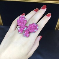 insect rose red color butterfly cocktail ring adjustable size 925 sterling silver pave stone fine women jewelry free shipping