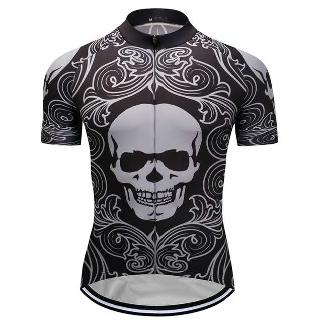 8d45c192e New Mens Short Sleeve Cycling Jersey Popular Skull Pattern Bicycle Tops  Garments Wear Bike Riding Shirt Outfits