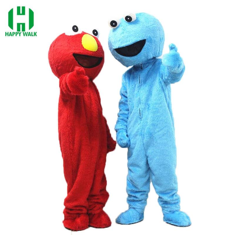 Red Elmo Blue Cookie Monster Mascot Costume Sesame Street Adult Mascot Costumes EPE Material Cartoon Imitation Cosplay Clothes