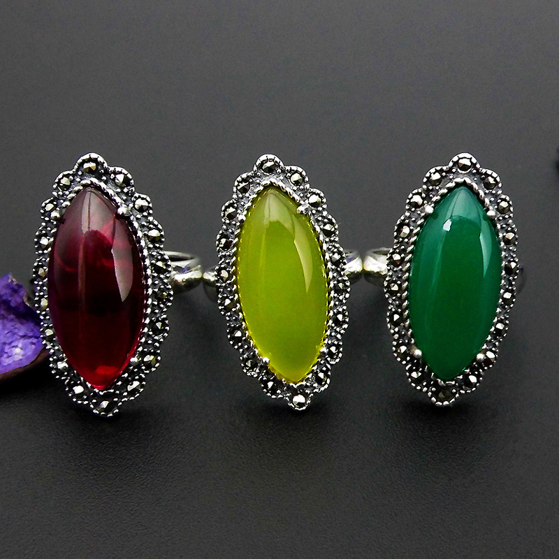 FNJ 925 Silver Oval Ring Green Yellow Chalcedony Red Stone S925 Sterling Thai Silver Rings for Women Jewelry Adjustable Size 925 sterling silver ring natural yellow chalcedony stone 100
