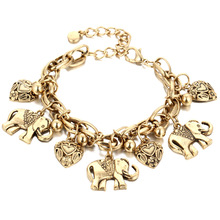 Vintage Punk Retro Alloy Heart Elephant Anklets Jewelry Gifts for Women Men KQS8