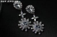 M & W תכשיטי עגילי תכשיטים נשיים זול למעלה איכות AAA CZ פרח בצורה עבור תכשיטי חתונת נשים