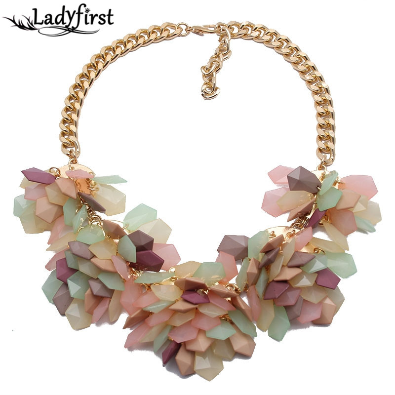 2015 Popular Fashion Necklace Exaggerated Geometric Colorful Jelly color Crystal Gems Flower Necklace 4618
