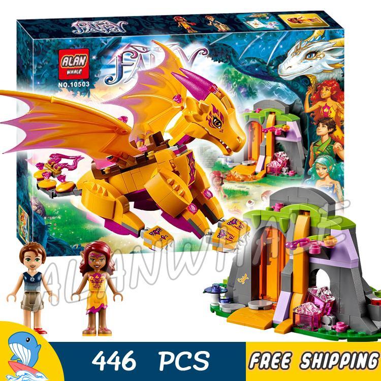 446pcs Elves Fire Dragon's Lava Cave Lava Falls Magic 10503 Model Building Blocks Assemble Kids Toys Bricks Compatible With Lego