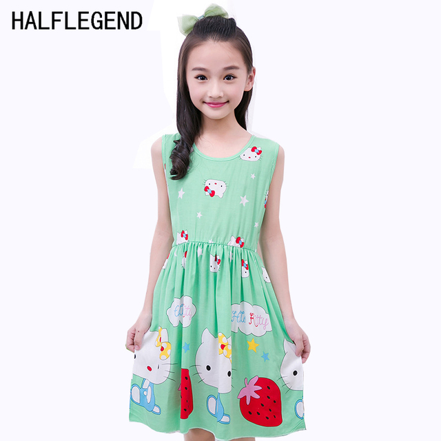 4dc8bf10d6fc 2017 Summer Baby Girl Princess Dress Hello Kitty Cute Casual Beach  Sundresses For Girl Kids clothing Cotton 4-7 8 9 10 11 Years