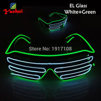 Colorful New Fashion White And Green EL Wire Fashion LED Lighting Flash Shutter Shaped Glasses With