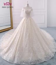 Uzun kraliyet tren Vintage dantel düğün elbisesi 2020 kısa parlama kollu inciler boncuk nakış balo düğün elbisesi es WX0121