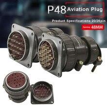 цена на P48 Aviation Connector Plug Socket P48K5Q P48K6Q 48MM 20pin 26pin Round Connectors for Automation Equipment