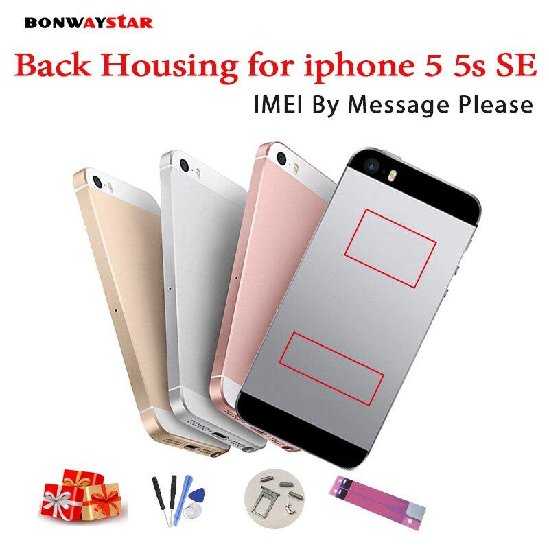 Carcasa trasera para iPhone 5 5S de la cubierta de la batería de vivienda caso para iPhone medio cuerpo de chasis de personalizar IMEI regalo