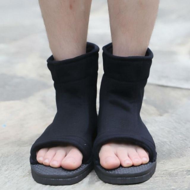 Naruto Cosplay chaussures Akatsuki Nanja Uzumaki Naruto Sakura Sasuke noir bleu coton doux sandales Ninja bottes Kakashi chaussures