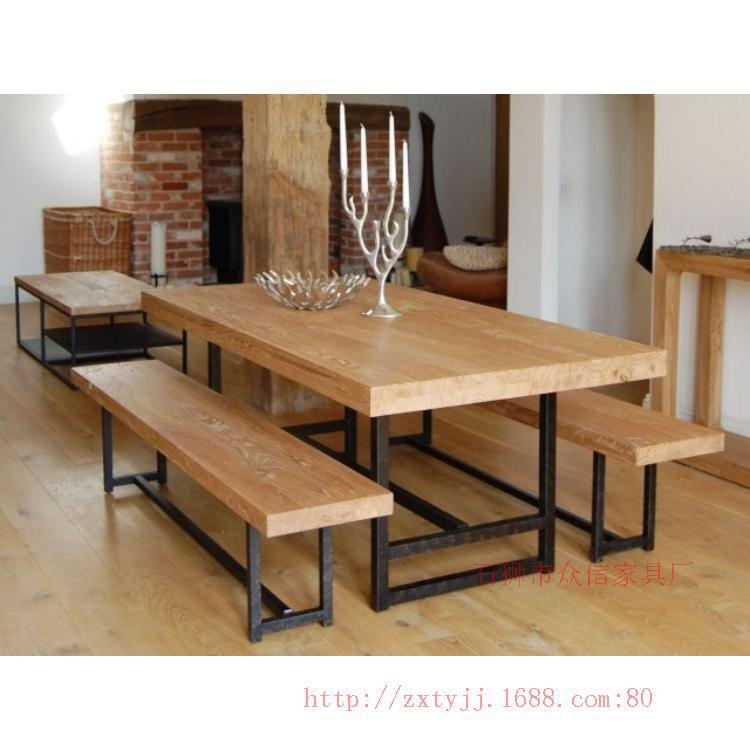 Country Style Dining Table And Chairs: LOFT American Country Style Wrought Iron Wood Bench Big
