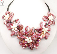 Women Jewelry natural white pearl bright red 5 flowers pendant shell mother of pearl necklace black leather 18