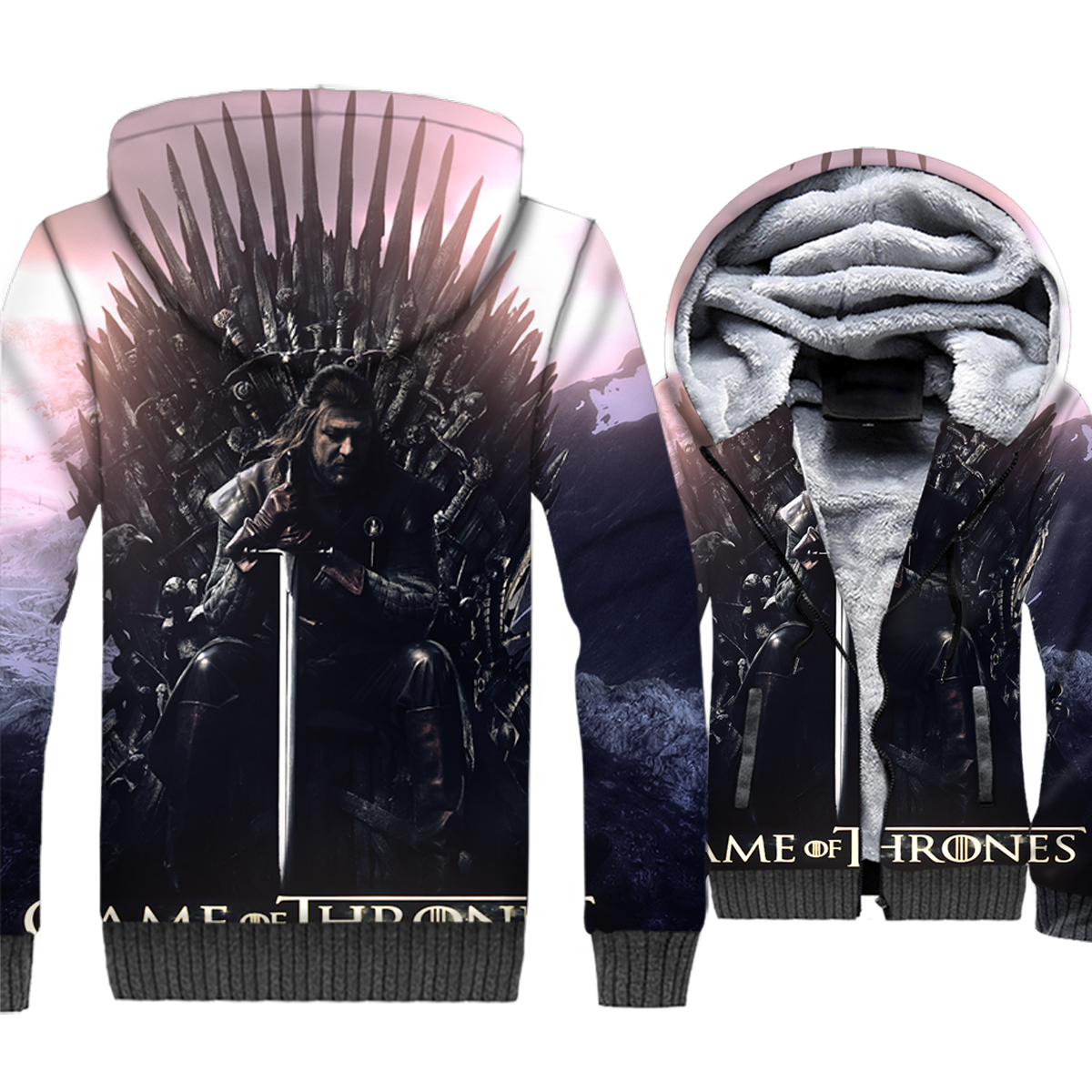 Game of Thrones Jacket Men 3D Hoodies House Stark Sweatshirt Winter Thick Fleece Coat One Throne To Rule Them All Streetwear 5XL
