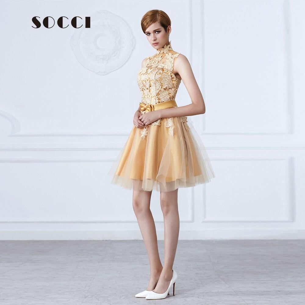 SOCCI Mode kurze Gold abendkleid High neck Spitze blume bogen Schärpen süße  mutter von bide kleider Formale hochzeit kleider in SOCCI Mode kurze Gold  ... 78ab220b6a