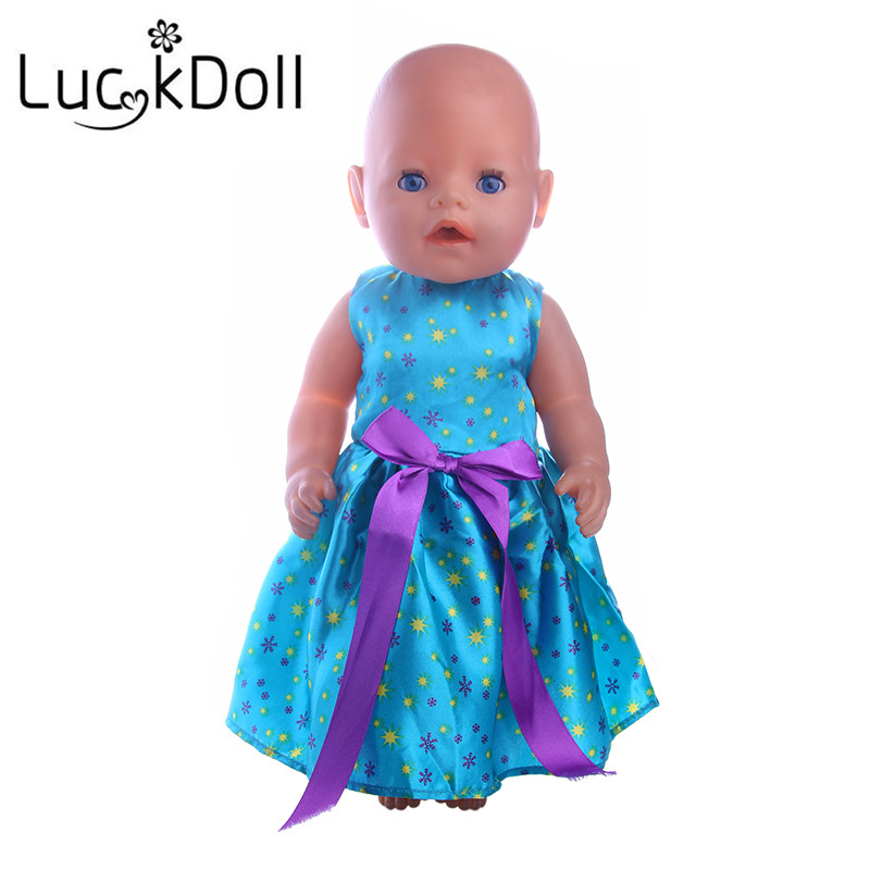 LUCKDOLL Blue Purple Bow Dress Fit 18 Inch American 43cm Baby Doll Clothes Accessories,Girls Toys,Generation,Birthday Gift