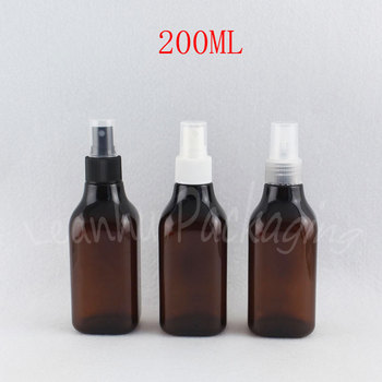 200ML Brown Square Plastic Bottle With Spray Pump , 200CC Water / Toner Packaging Bottle , Empty Cosmetic Container