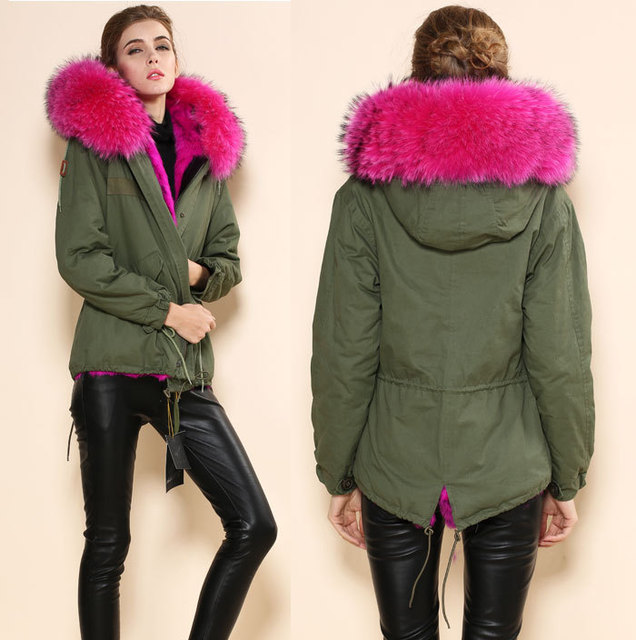 Completely new Large fur collar jacket women's Army green rose red lining Faux  TT82