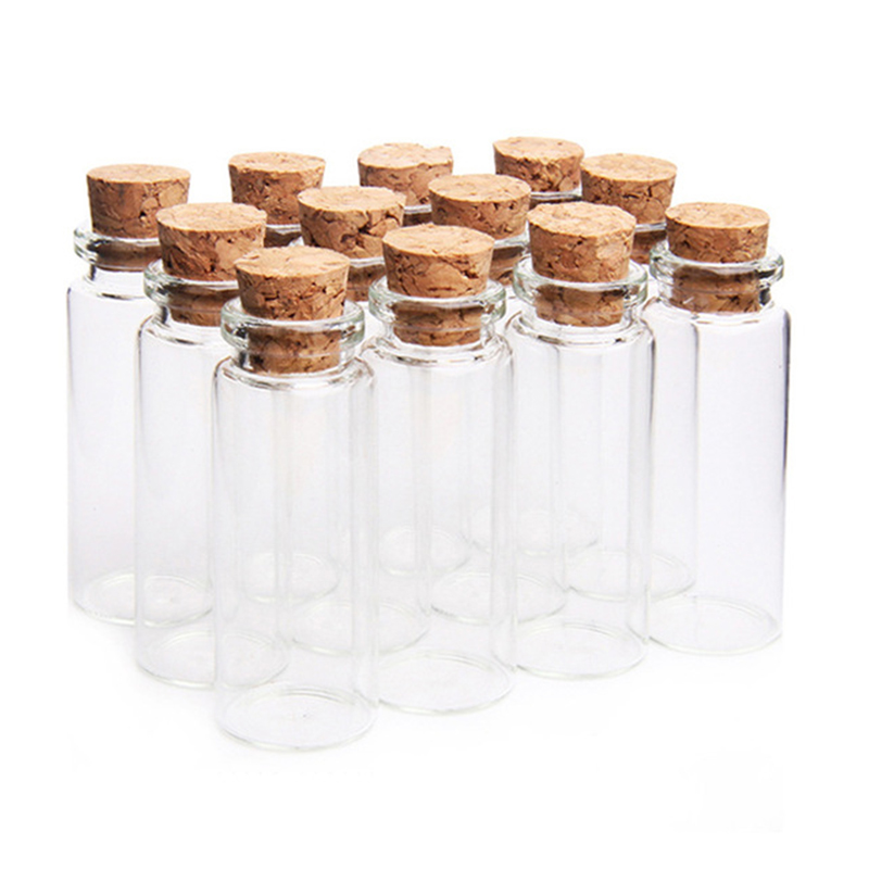 2pcs/set 12ml Glass Bottles Wishing Bottle Empty Sample Storage Jars With Cork Stoppers Transparent Diy Gift Bottle Container