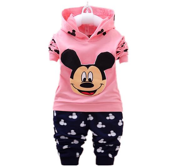 4 color!!! nueva primavera otoño niñas establecen 2017 Mickey Niños Chándal traje de ropa de niños y niñas con capucha + pantalones 2 UNIDS s