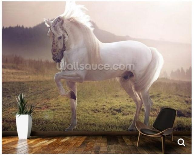 Kundenspezifische Natürliche Landschaft Tapeten, Märchen White Horse  Wandbild Für Wohnzimmer Schlafzimmer Bar KTV Hintergrund Papel