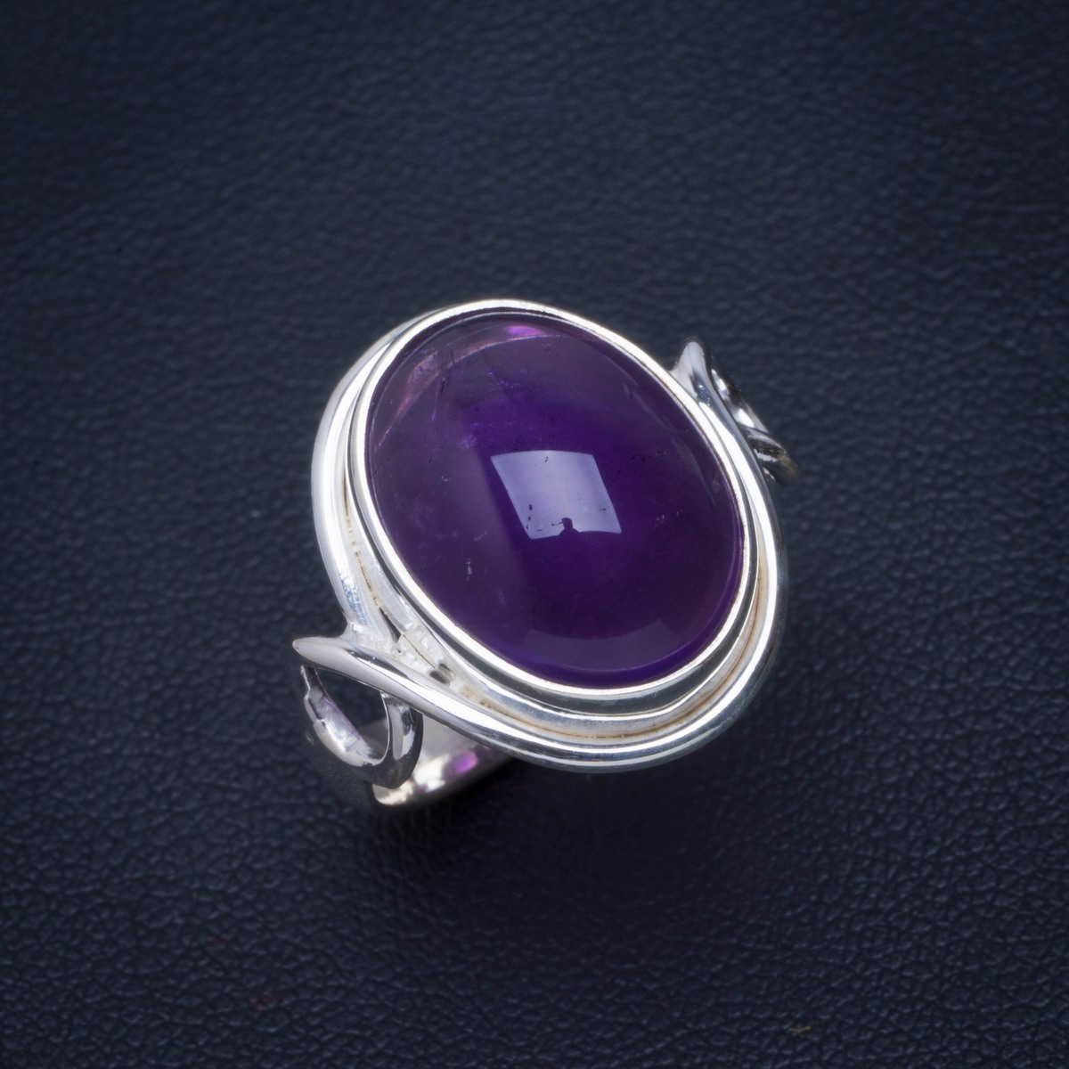 Natural Amethyst Handmade Unique 925 Sterling Silver Ring 7.75 B1191Natural Amethyst Handmade Unique 925 Sterling Silver Ring 7.75 B1191
