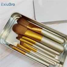 цена на Professional Golden Makeup Brushes Cosmetics Brush Eyeshadow Kit Premium Kabuki Foundation Powder Blending Blusher Metal Box