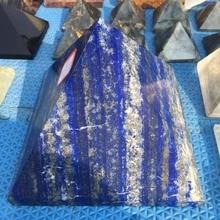 Large Natural Lapis lazuli quartz crystal pyramid reiki healing gemstone pyramid for home decoration