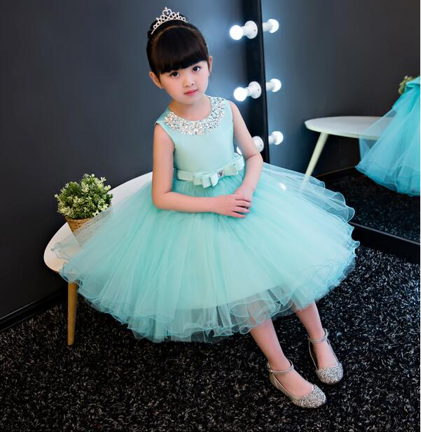 daecb8cd80fa0 US $34.31 48% OFF|Fashion Formal Newborn Blue Wedding Dress Baby Girl Bow  Pattern For Toddler 1 Years Birthday Party Baptism Dress Clothes-in Dresses  ...