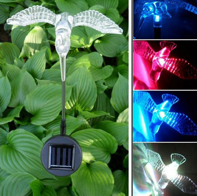 Solar Powered Lawn Garden Stake Color Changing Light Led Sidewalk Lawn Light Lamp Butterfly