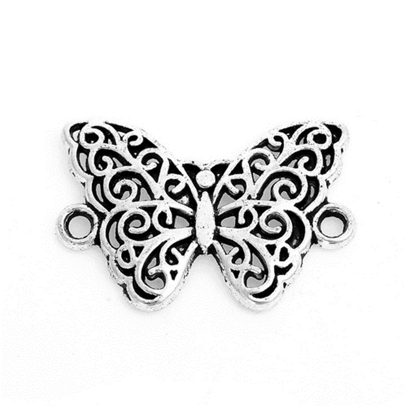 DoreenBeads Zinc Based Alloy Connectors Butterfly Animal Antique Silver Hollow DIY Findings 20mm( 6/8