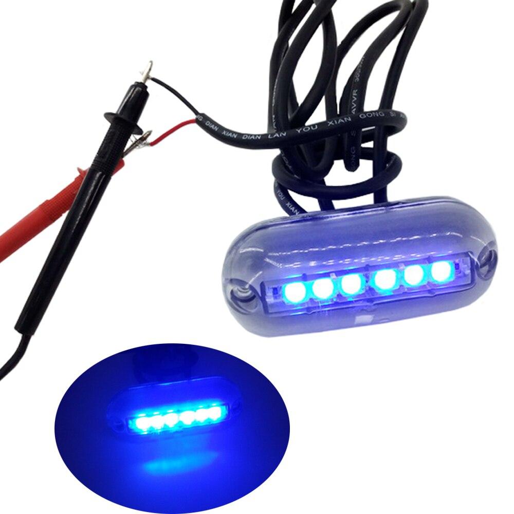 Jeazea 1pcs blue 12v 6 led underwater fishing light lamp for Boat lights for night fishing
