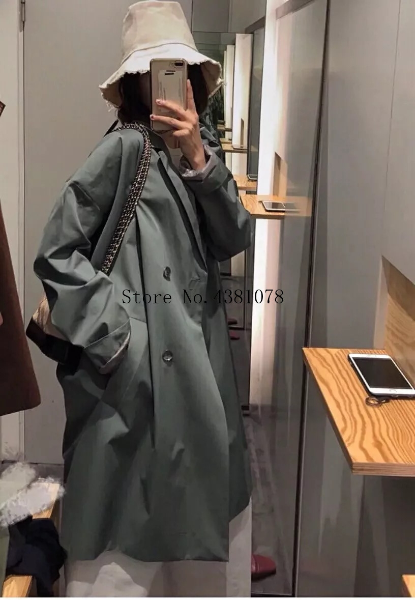 North style casual   Trench   women hot selling buttons loose long coat