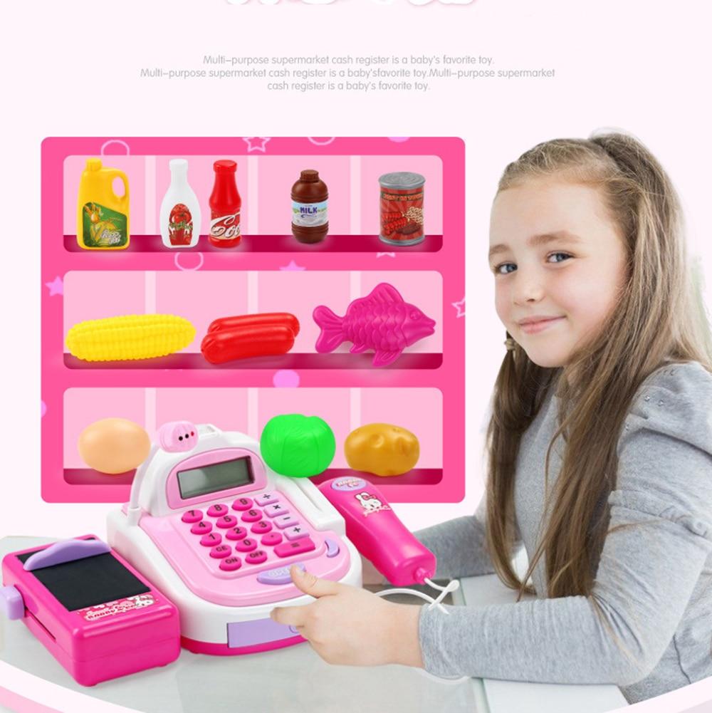 Kids Supermarket Cash Register Electronic Toys with Foods Basket Money Children Learning Education Pretend Play Set  Multan