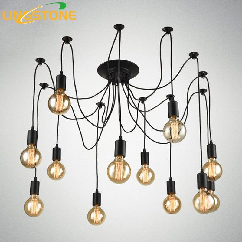 Vintage Nordic Spider Pendant Lamp Multiple Adjustable Retro Pendant Lights Loft Classic Decorative Fixture Lighting Led