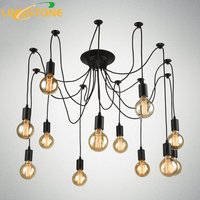 Vintage Nordic Spider Pendant Lamp Multiple Adjustable Retro Pendant Lights Loft Classic Decorative Fixture Lighting Led
