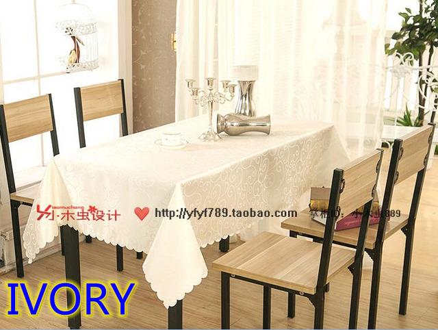 Ivory Colour Jacquard Rectangle Square Wedding Table Linens,damask Table  Cover For Wedding,hotel