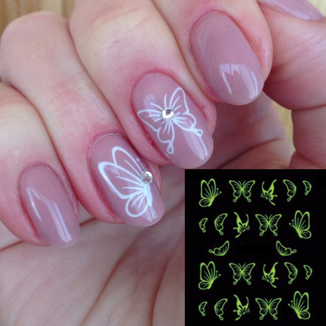 1 лист Горячие бабочки лук дизайн светящийся блестящий дизайн ногтей Блеск ногтей наклейки украшения Маникюр Советы Инструменты TRDG-007