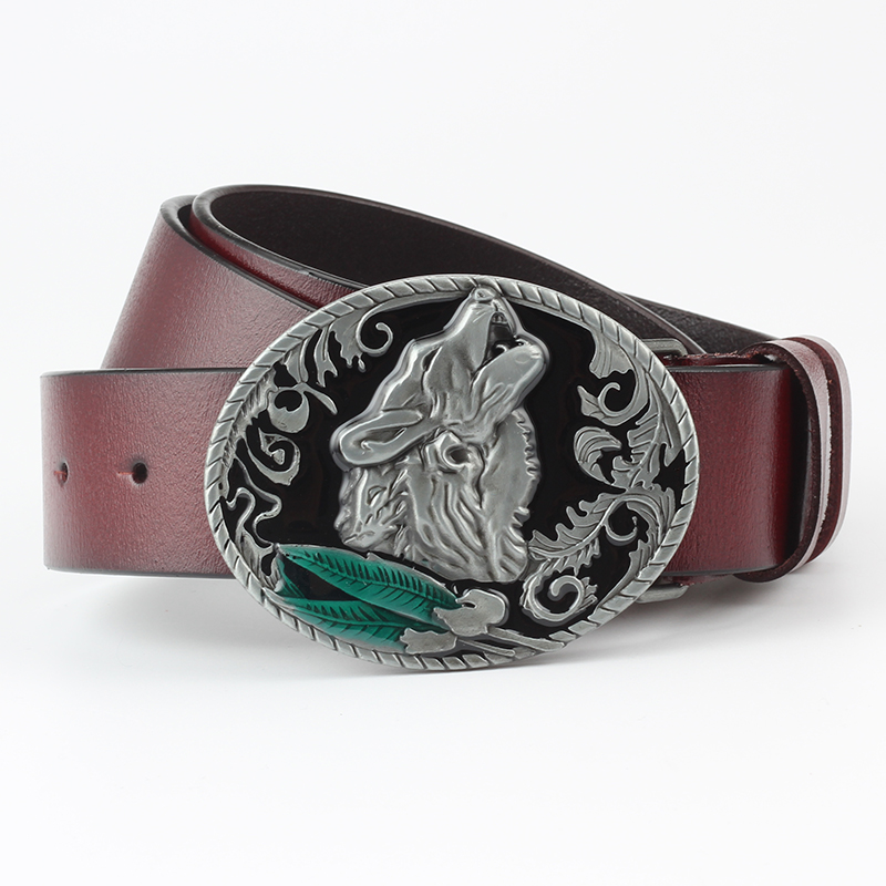 The Wolf series   belt   buckle leather   belt   Animal buckle Decorative   belt