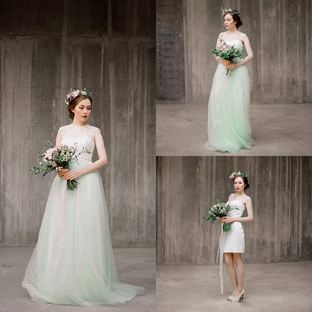 Two Pieces Boho Wedding Dress With Detachable Bolero Mint Green Tulle Skirt Separates Lace Country Bohemian