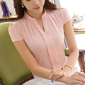 Elegante Delgado de La Gasa blusas de Moda de manga corta camisas Ocasionales de las mujeres Nuevo 2017 Mujeres Del Verano blusas tallas grandes mujeres tops
