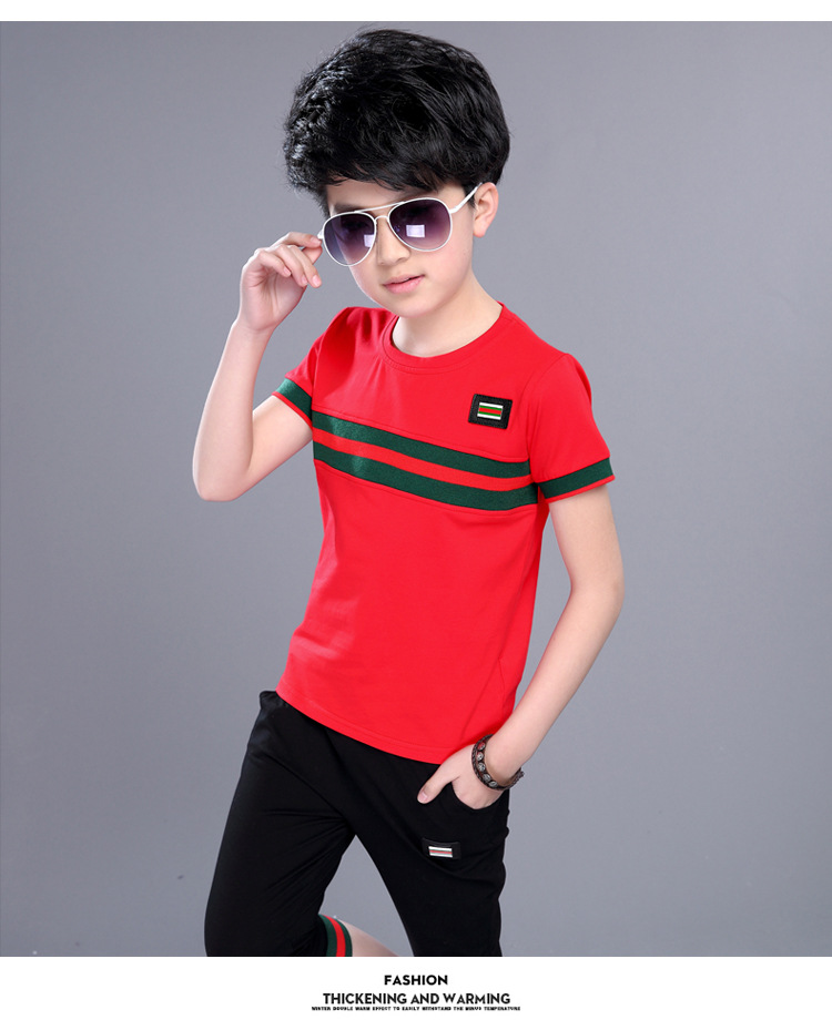 Casual Active Boys Clothes Set Summer Girls Teenage T Shirt Shorts Children Suit 2019 Kids Outfits Sports Clothing For Boys 2Pcs (11)